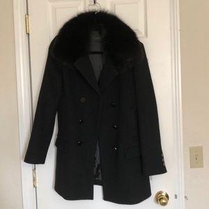 Elie Tahari Balck Coat with Fur neck collar